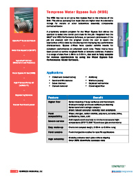 Download Water Bypass Sub Specifications & Information PDF: